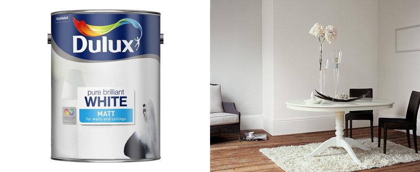 Best Overall for Walls & Ceilings-Dulux Pure Brilliant White Matt Emulsions